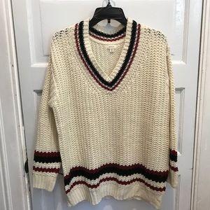 Debut Preppy V-Neck Varsity Sweater M/L Oversized